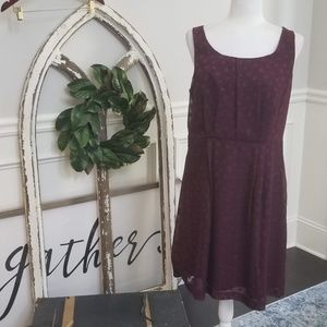 Beautiful Burgandy Polka Dot Dress by Loft Size 12